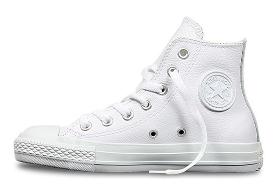 ALL STARS Wit leder basket mono