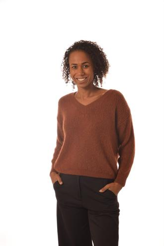 BONITA AVE Almond/cognac v-neck knit
