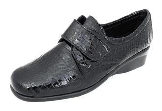 HUSH PUPPIES Zw.lak croco velcro