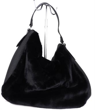 OBJECT Black faux fur bag