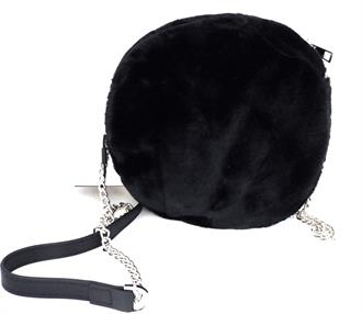 OBJECT Black faux fur round bag