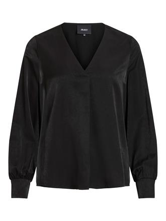 OBJECT Black v-neck long sleeve blous