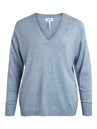 OBJECT Cloudy blue v-neck knit