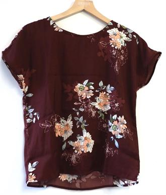 OBJECT Floral shirt burgundy