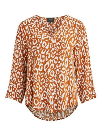 OBJECT Rust leo v-neck blouse