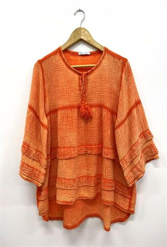 PAULETTE Orange tetra ruffle blouse