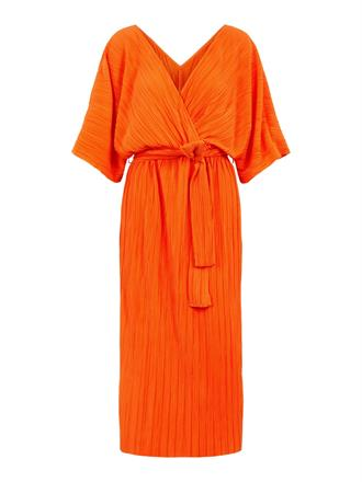 YAS Orange plisse dress