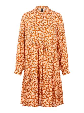 YAS Rust floral ruffle dress