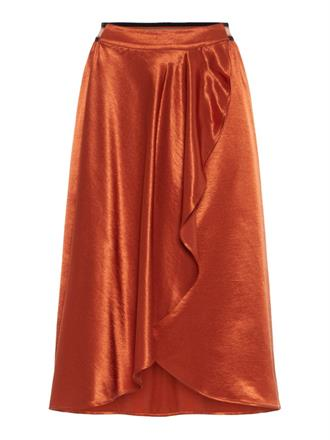 YAS Satin wrap skirt